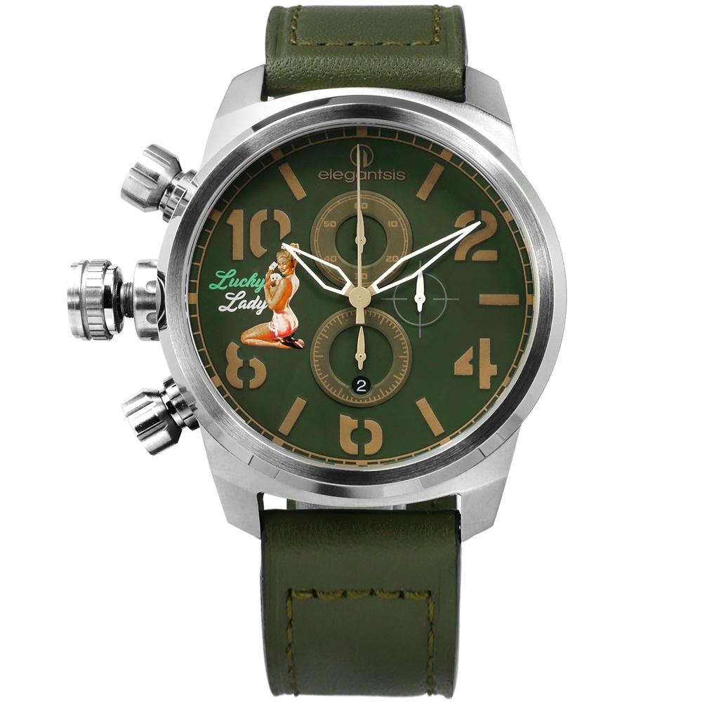elegantsis 美軍閃電 機頭藝術女郎彩繪視覺計時義大利真皮手錶-綠色/48mm