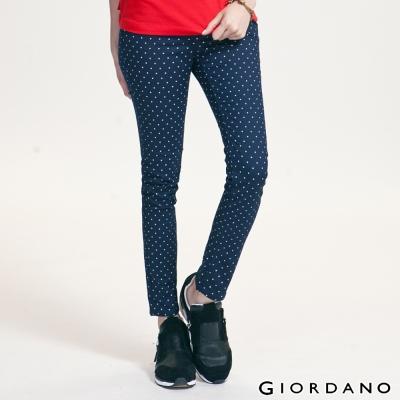 GIORDANO-女裝低腰修身窄管彈力褲-01海軍寶藍色-01412036