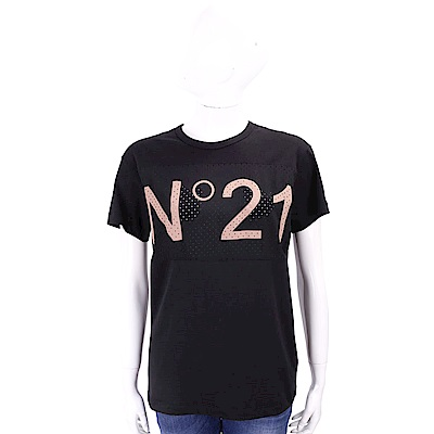 N° 21 字母簍空設計黑色棉質T恤