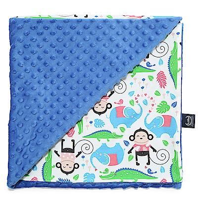 La Millou 單面巧柔豆豆毯(加大款)嬰兒毯寶寶被毯-歡樂拉拉猴(加勒比海藍)