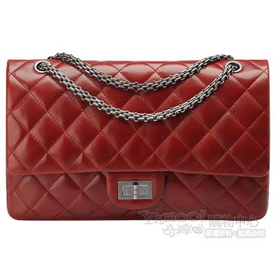 CHANEL 菱格紋羊皮鎖釦銀鍊COCO包(紅色)