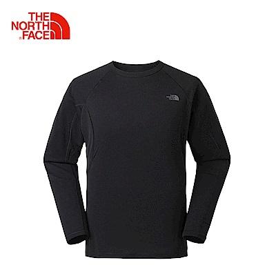 The North Face北面男款黑色吸濕排汗長袖T恤