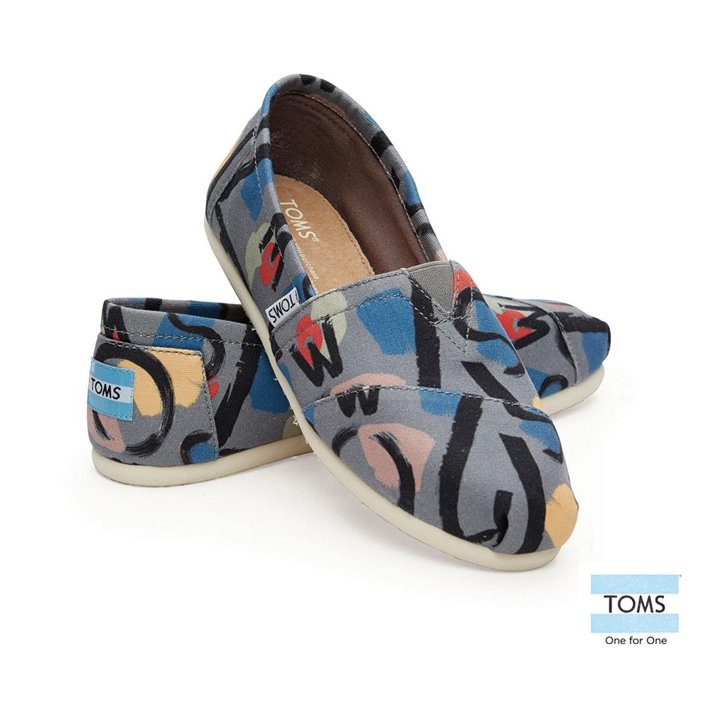 TOMS 經典塗鴉彩繪懶人鞋-女款(灰)