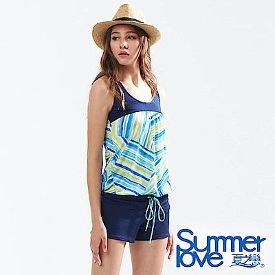 夏之戀SUMMERLOVE 大女連身褲印花剪接兩件式泳衣