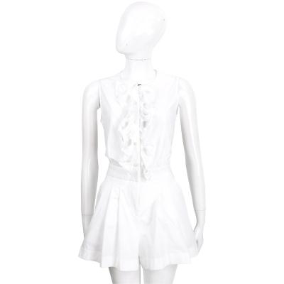 BOUTIQUE MOSCHINO 白色前荷葉排釦連身短褲