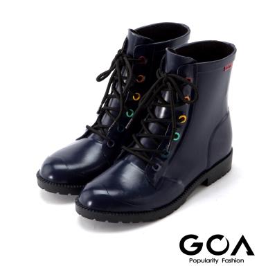 GOA 復古彩釦 帥氣短筒騎士雨靴-時尚深藍