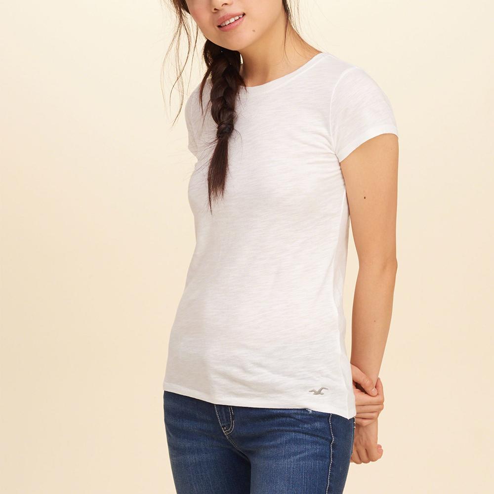 HCO Hollister 經典標誌設計短袖素色T恤(女)-白色