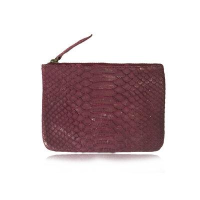 ACUBY 限量單品手工蛇皮手拿包/葡萄紫