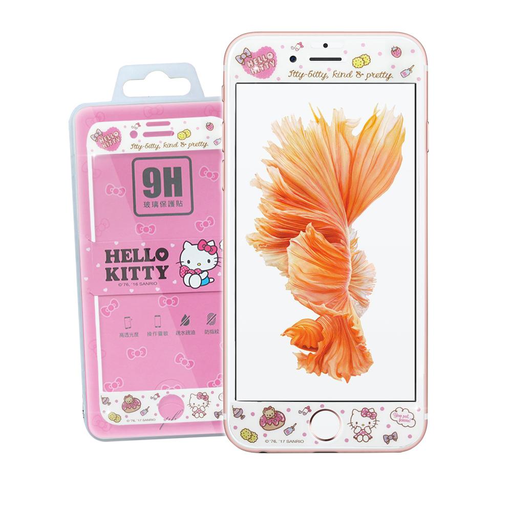 凱蒂貓 iPhone 6S / 7 / 8 4.7吋 微閃粉玻璃貼(甜心餅乾)