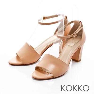 KOKKO-復古風潮真皮魚口粗跟踝帶涼鞋-甜心橘