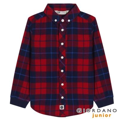 GIORDANO童裝純棉絨條紋襯衫-22-火烈鳥紅