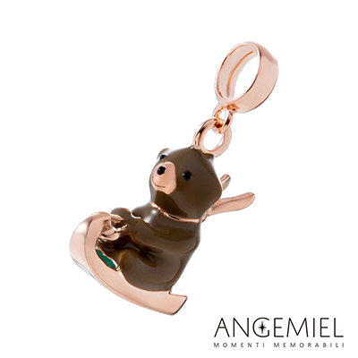 Angemiel安婕米串珠 925純銀吊飾 雪橇小熊