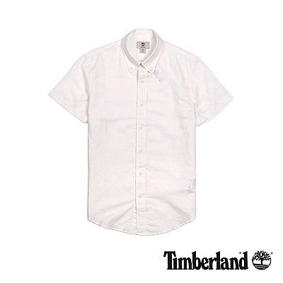 Timberland 男款白色青年布修身短袖襯衫