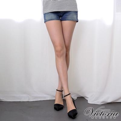 Victoria 配線低腰牛仔短褲-女-中藍