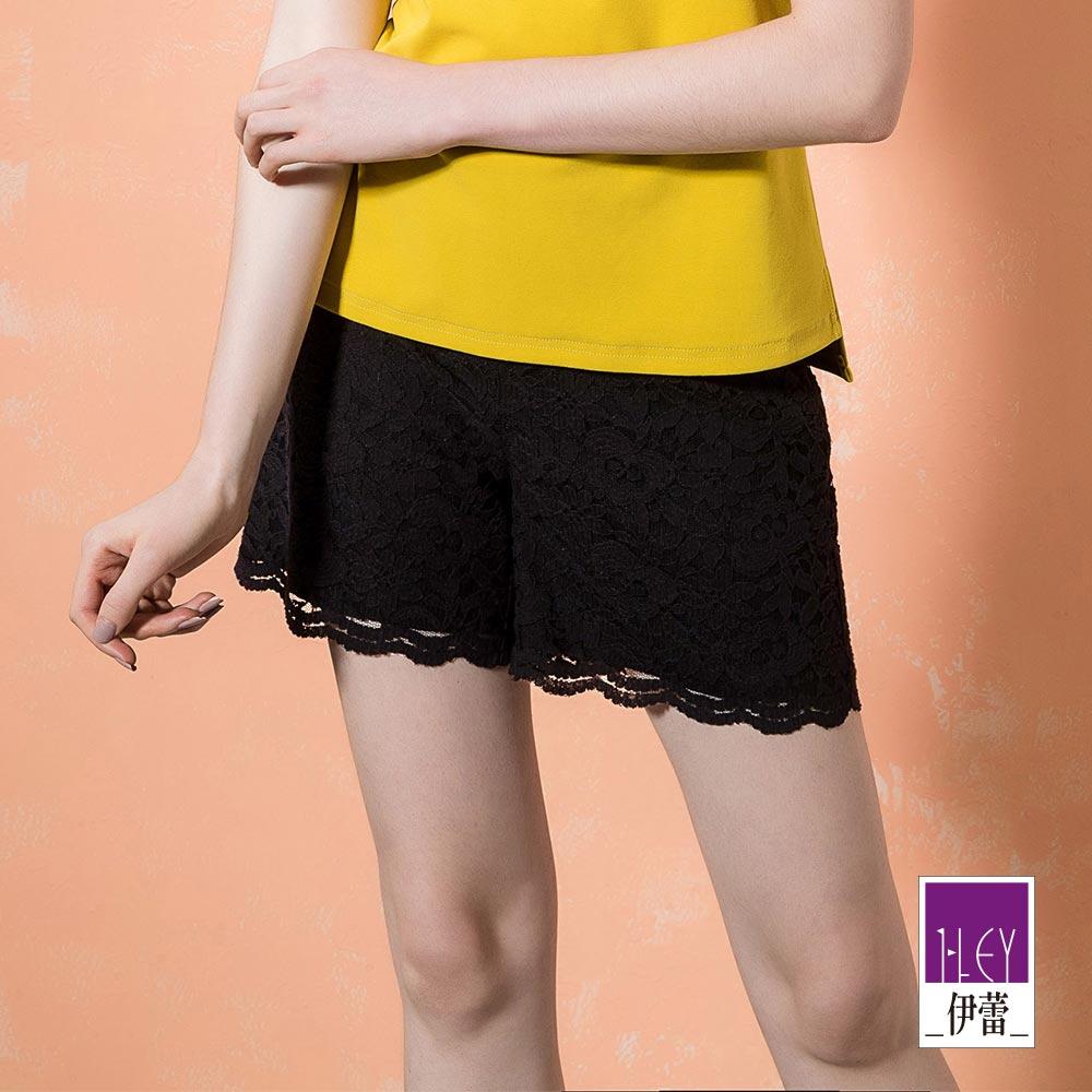 ILEY伊蕾 縷空花朵蕾絲造型短褲(黑)