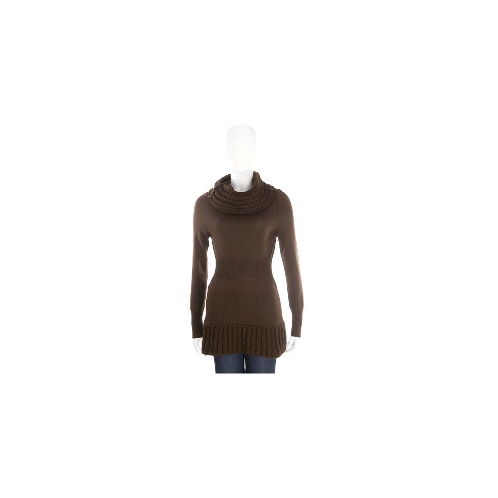 PULLAROUND 咖啡色拼接織紋高領針織羊毛上衣(100%WOOL)
