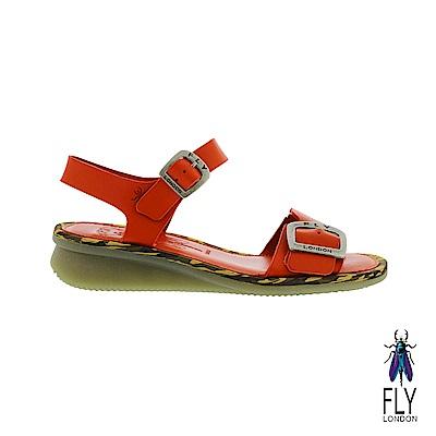 Fly London(女) 夏日戀情 雙線扣環平底涼鞋- 豔陽紅