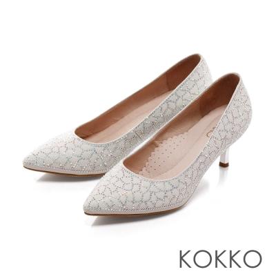 KOKKO-公主典範尖頭花紋鑽飾訂製高跟鞋-幸福白
