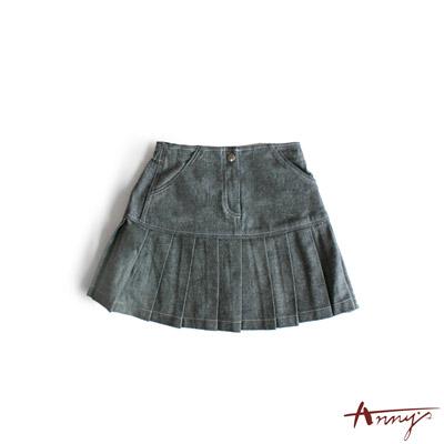 拼接造型牛仔百褶短裙*8414藍