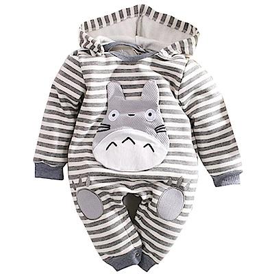 魔法Baby 條紋刷毛連帽嬰兒連身衣 灰 k60634