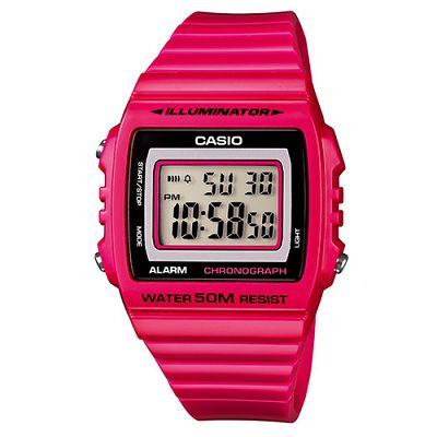 CASIO 超亮LED大螢幕方形數位錶(W-215H-4A)-熱血紅/40mm