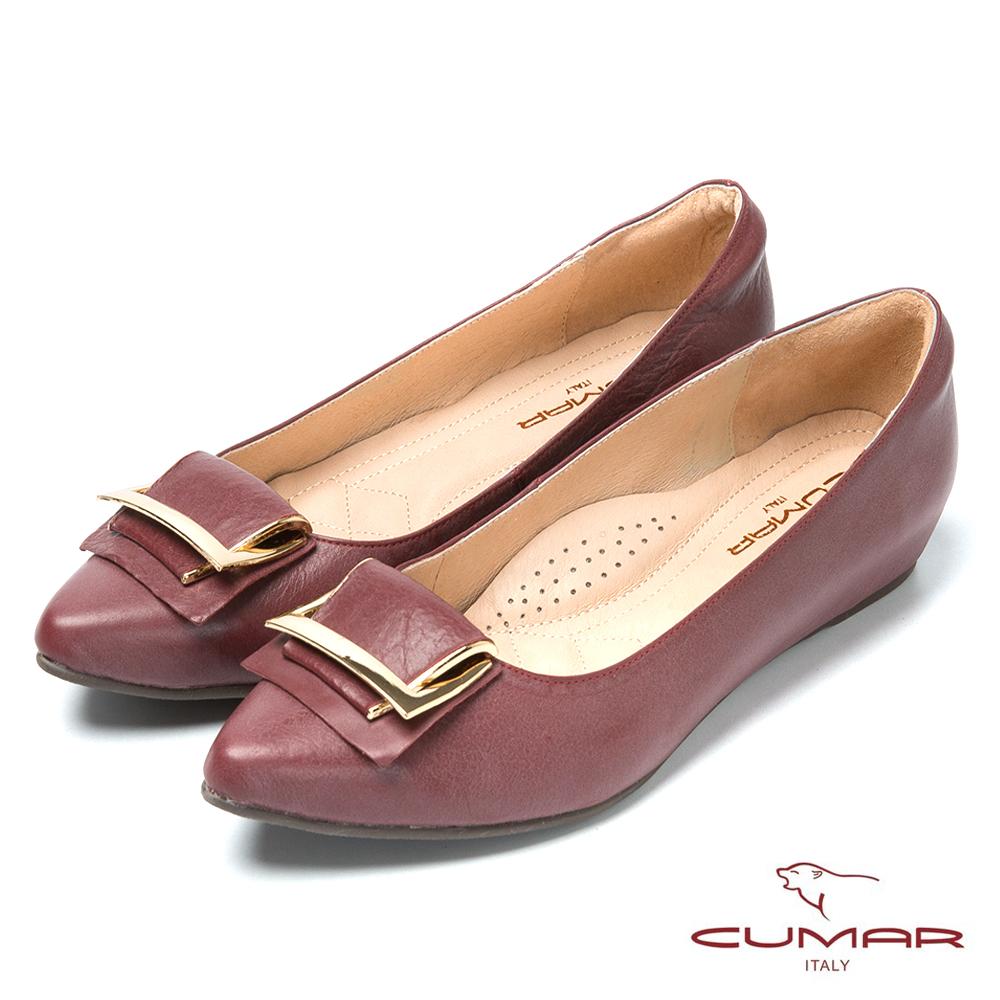 CUMAR台灣製造 顯瘦尖頭真皮低跟鞋-紅