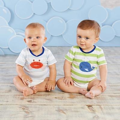 Baby Aspen 立體海底動物短袖上衣三件式彌月禮組