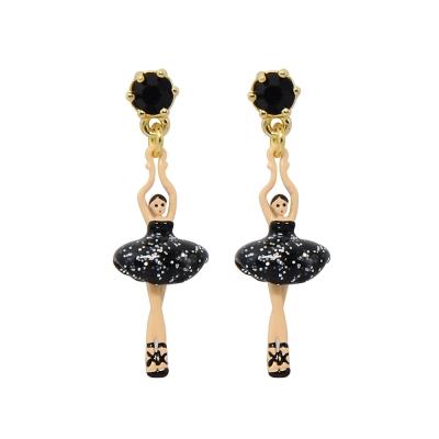 Les Nereides 優雅芭蕾舞女孩系列 閃耀水鑽黑色迷你芭蕾舞者耳針式耳環