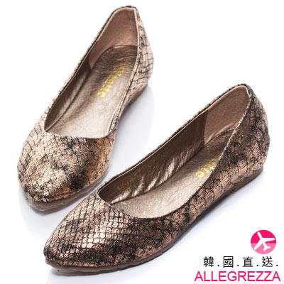 ALLEGREZZA-韓國直送女鞋-蛇紋壓紋亮面材