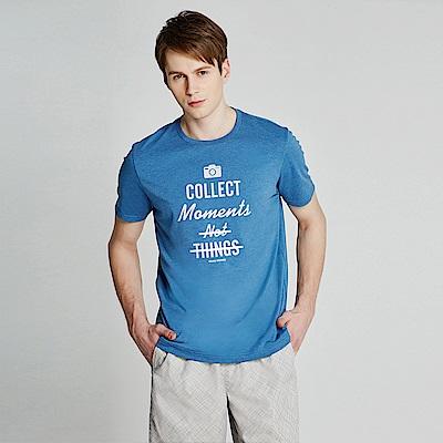 GIORDANO 男裝棉質熱愛旅行印花圓領T恤-06 雪花中洗水藍