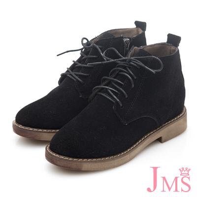 JMS-帥氣刷色綁帶內增高短靴-黑色