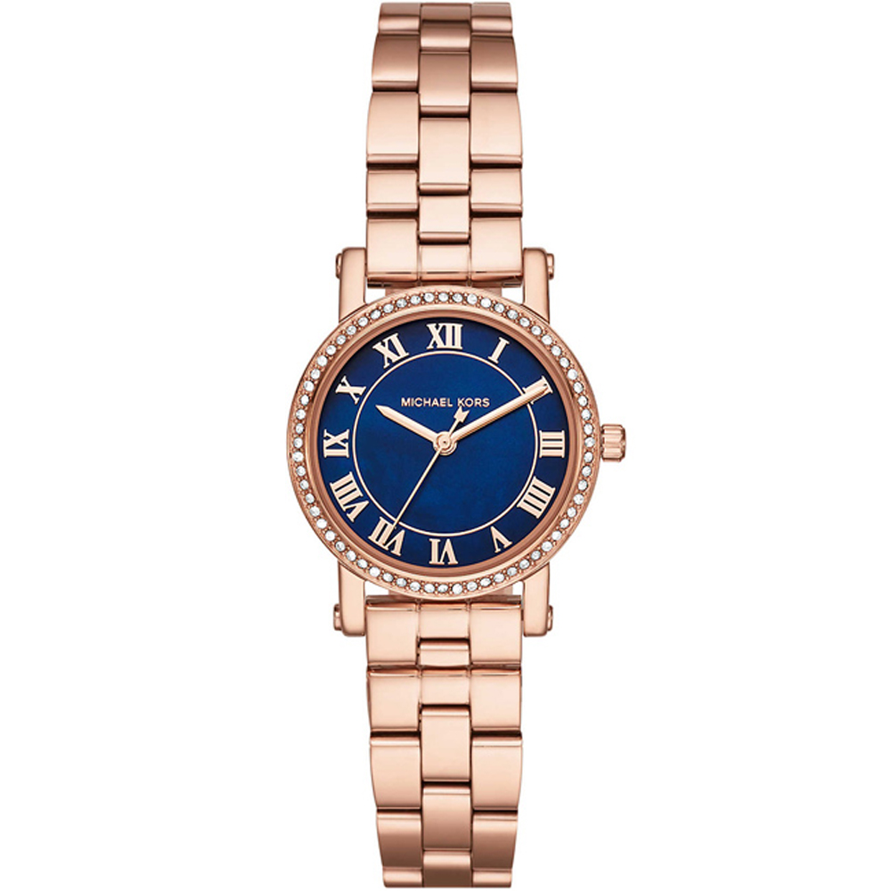 MICHAEL KORS閃耀晶鑽時尚手錶(MK3732)-藍X玫瑰金/28mm