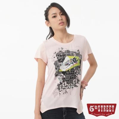 5th STREET T恤 甲蟲印圖雪紡T恤-女-淡粉