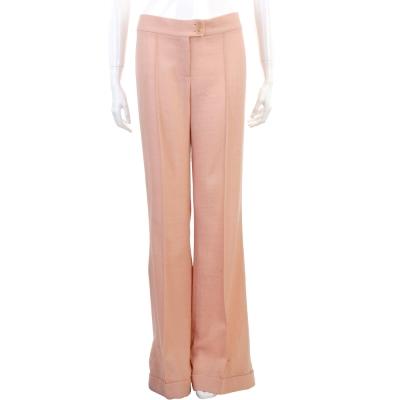 MOSCHINO 粉橘色反褶設計羊毛長褲(100%LANA)
