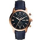 FOSSIL Townsman自信風範計時手錶(FS5436)-黑X玫瑰金/44mm