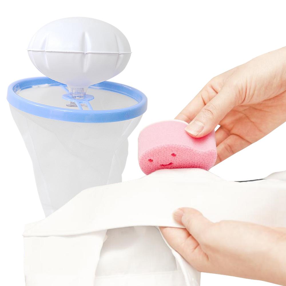 日本AISEN黏貼式領袖口超極細海綿刷+浮球濾網