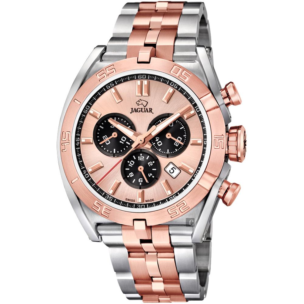 JAGUAR積架 EXECUTIVE 計時手錶-黑圈x雙色/45.8mm