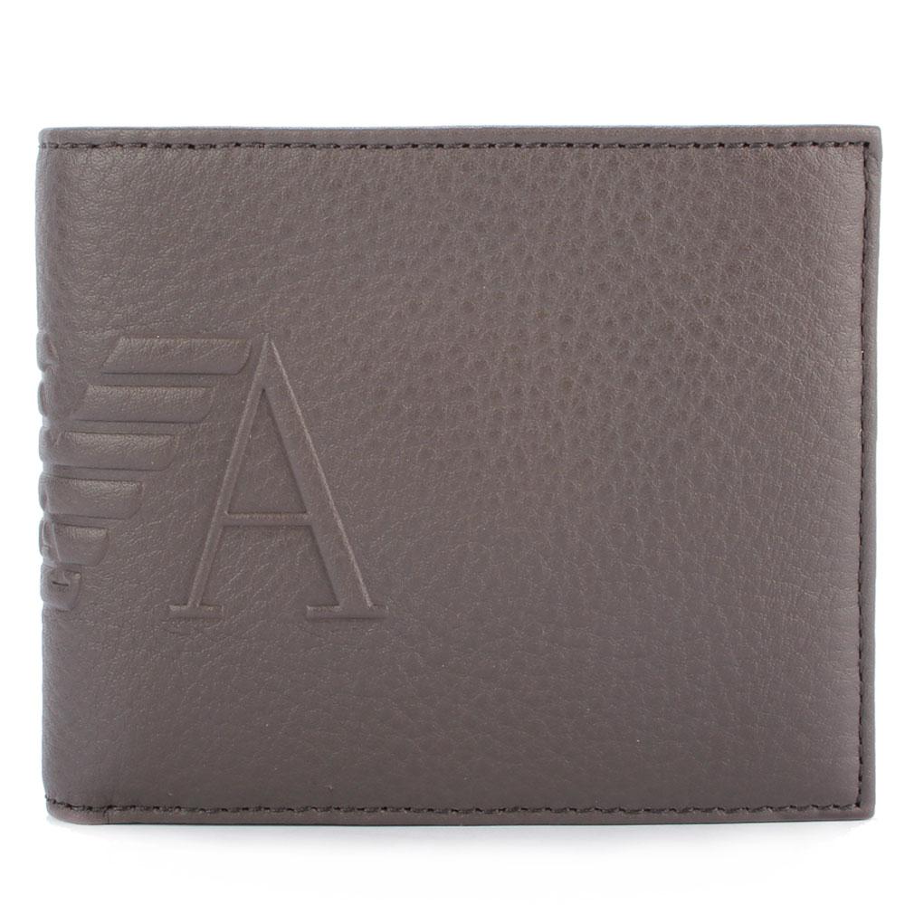 Emporio Armani 經典EA老鷹標誌皮革短夾-淺褐色