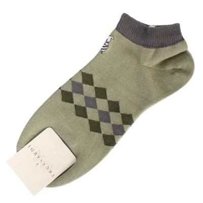 TRUSSARDI 休閒菱格紋棉質短襪-綠/灰