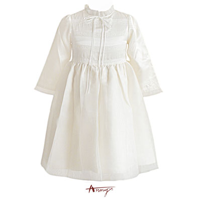 Anny緞面荷葉領蕾絲網紗袖口洋裝*7206米白