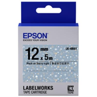 EPSON C53S654464 LK-4BBY 繁星夜空底黑字標籤帶(寬12mm)