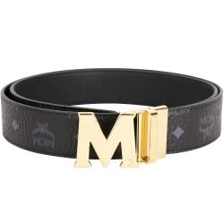 MCM Claus 金字M釦頭雙面兩用腰帶(黑色)