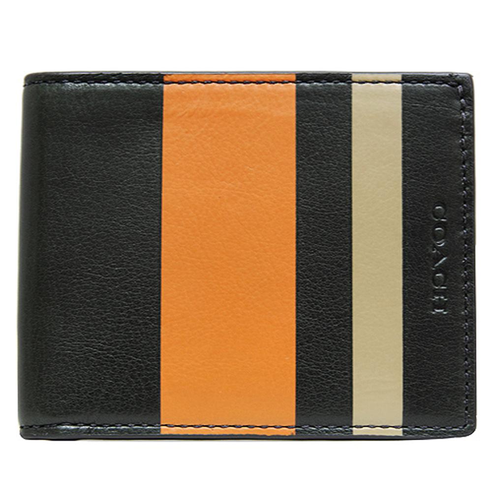 COACH 壓印LOGO雙色條紋六卡萬用短夾-橘黑COACH