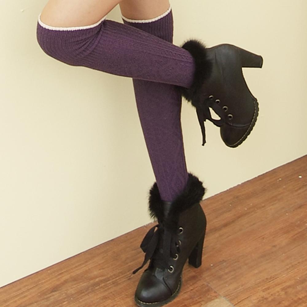 I-shi 日系菱格.羅紋膝上襪(紫)