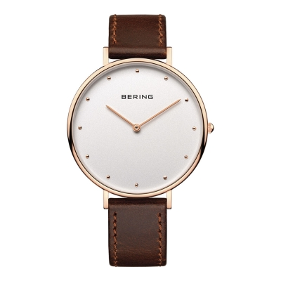 BERING-簡約刻度系列 藍寶石鏡面 棕色真皮白錶盤玫瑰金框39mm