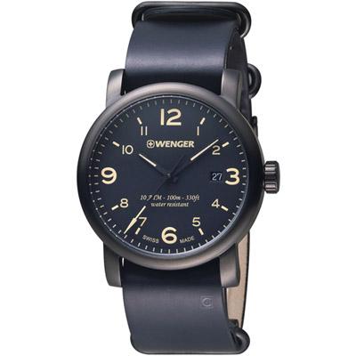 瑞士WENGER  都會系列戶外休閒腕錶 -黑色/45mm