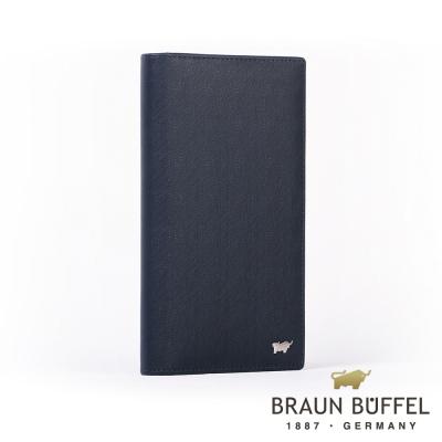 BRAUN BUFFEL - HOMME-M紳士系列極光紋17卡零錢長夾 - 深藍