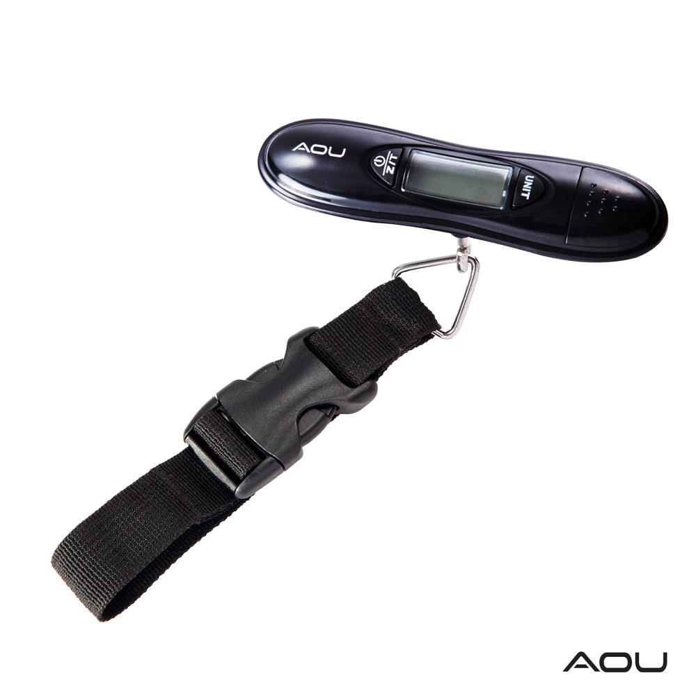 AOU 多功能日本YKK扣具行李秤 攜帶式手提行李電子秤(個性黑)66-025