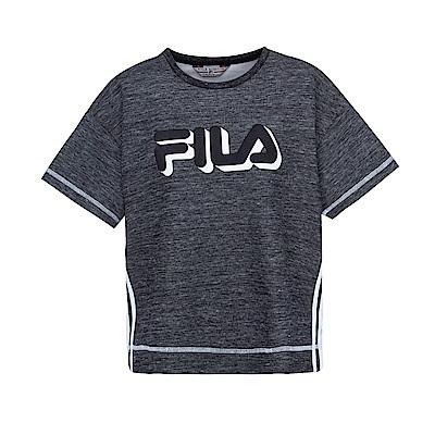 FILA 女款落肩寬鬆箱型T恤-黑5TES-1438-BK