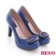 BESO 俏麗糖果 鏡面異材質圓釦高跟鞋 藍